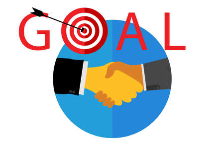 achieve goal: Illustration for Partnership for achieve goal or target