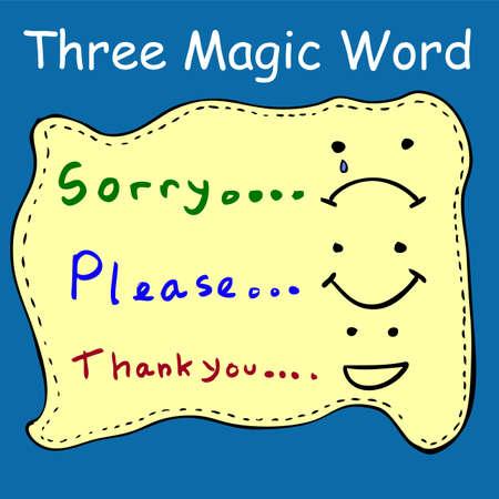"""Illustratie voor """"Drie magische woorden"""""""