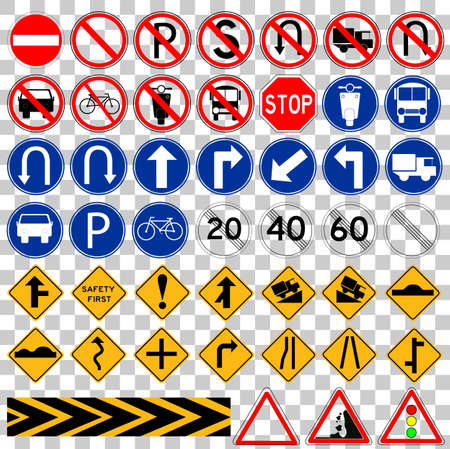 turn about: Set of Simple Traffic Sign at transparant effect background