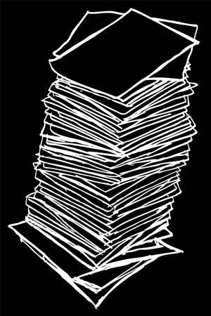 waste heap: black outline, Stack of Paper, isolated on black background Stock Photo