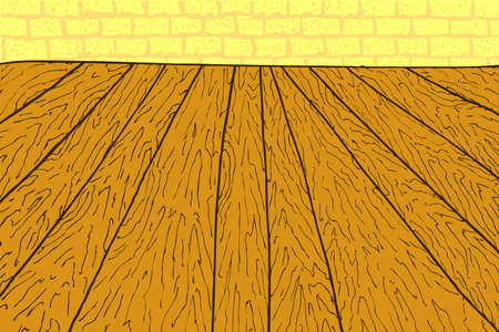 floorboard: Wooden Floor and Brick Wall Stock Photo