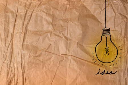 crumpled: Lamp - Idea At Crumpled Paper Stock Photo