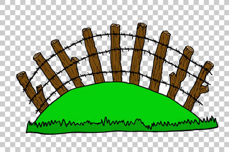 fencepost: hand draw sketch of perspective Wooden Gate