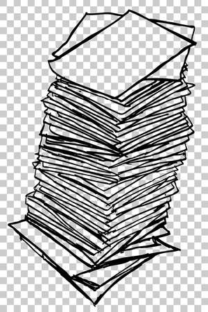 waste heap: Stack of Paper, at transparent effect background Stock Photo