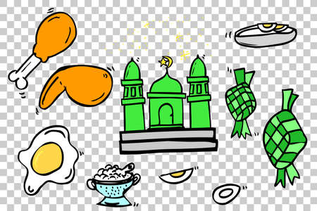 Hand Draw Sketch, Ramadhan (big islam day) Foods in indonesia Stock Photo