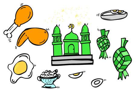 ramadhan: Hand Draw Sketch, Ramadhan (big islam day) Foods in indonesia Stock Photo