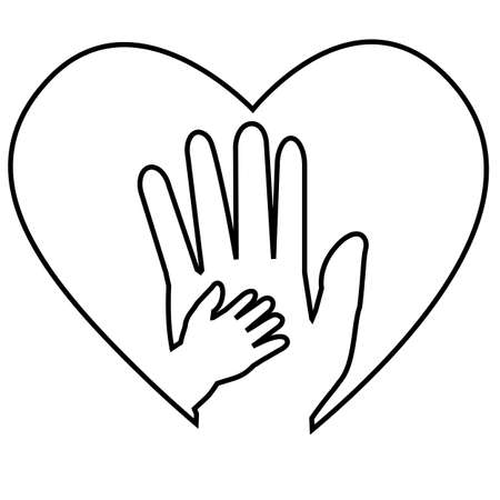 Black outline Adult Hand and Baby Hand at Love Shape Stock Photo