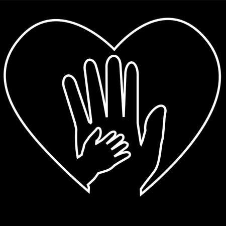 white outline Adult Hand and Baby Hand at Love Shape at black background Stock Photo