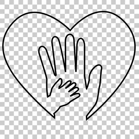 Adult Hand and Baby Hand at Love Shape at transparent effect background Stock Photo