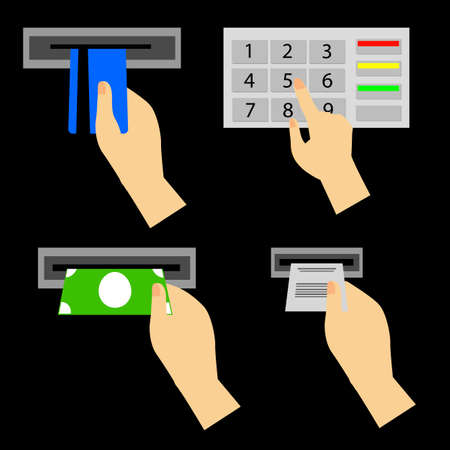 personal identification number: ATM Use Instruction at black background