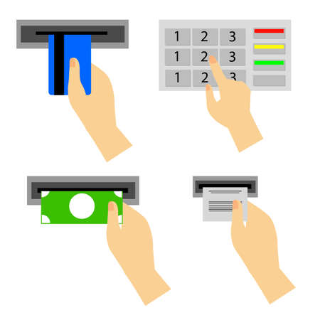 replenishment: ATM Use Instruction, isolated on white