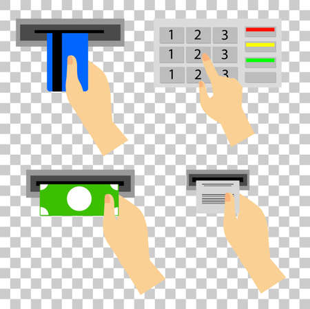 ATM Use Instruction at transparent effect background Stock Photo
