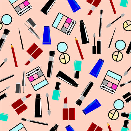 Seamless background, Cosmetics at pink