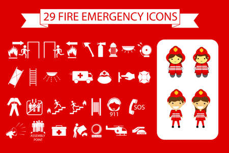 White sign of Emergency at red background with fire fighter man and woman Stock Photo
