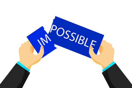 impossible: Illustration for change impossible into possible condition Stock Photo