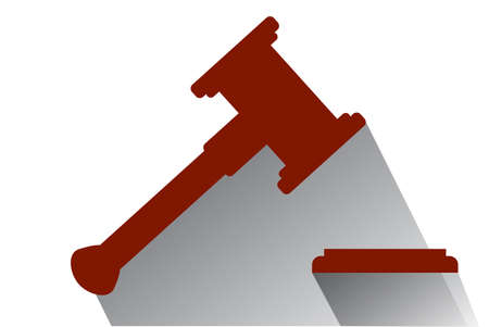 Flat Icon, Hammer of Judge with shadow, Illustration for Justice Stock Photo