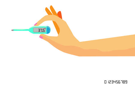 Woman Hand Holding Digital Thermometer