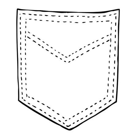 Hand Draw Outline of Empty Back Pocket