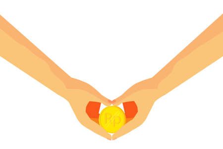 Hand - Hold a Golden Rupiah Coin in Love Shape Gesture