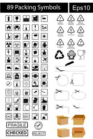 cfc: Black Packing Symbols isolated on white
