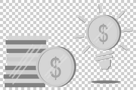 one us dollar coin: Silver Dollar Coin, Illustration for Idea to make money or to increase income
