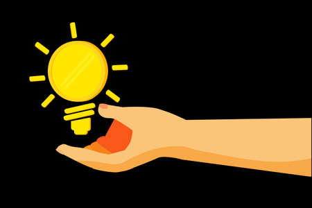 Hand - Give a Business Idea - (Blank Golden Coin) Stock Photo