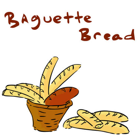 loaf: Hand Draw Sketch of Baquette Bread