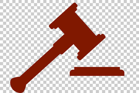 Flat Icon, Hammer of Judge, Illustration for Justice
