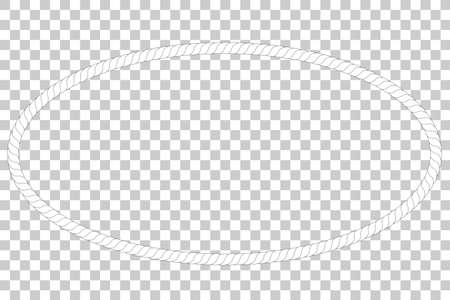 Oval Frame from rope at transparent effect background