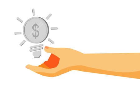 us dollars: Hand - Give a Business Idea - (Silver Dollar Coin) Stock Photo