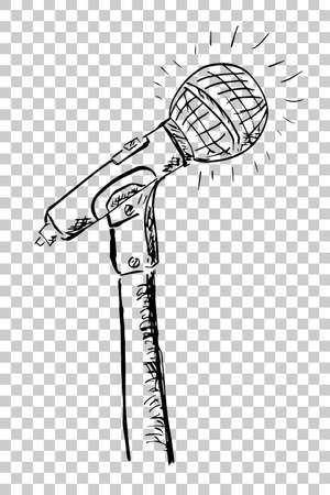 advertize: Hand Draw Sketch of Microphone Stock Photo