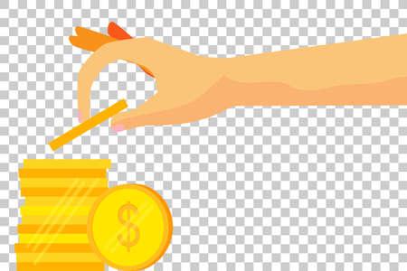 Woman Hand Saving Money - Golden Dollar Coin