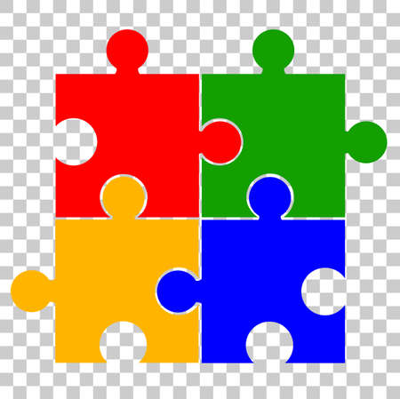 Four Blank Puzzles at Transparent Effect Background Stock Photo