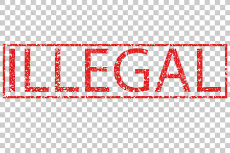 illegal: Rubber Stamp Effect, Illegal, at Transparent Effect Background Stock Photo