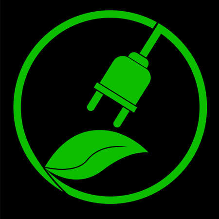 Go Green - Electricity, at black background