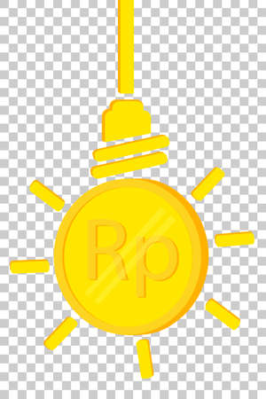 Golden Rupiah Coin, Illustration for Idea to make money or to increase income, at transparent effect background Stock Photo