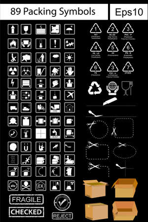 cfc: 89 Black Packing Symbols white at black background Stock Photo