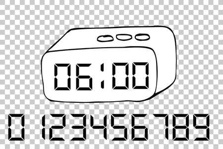 pm: hand draw sketch of Digital Alarm Clock at transparent effect background