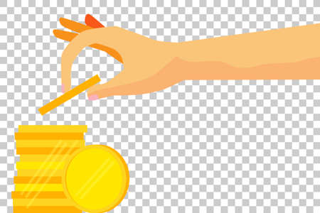 coi: Woman Hand - Saving Money - Blank Golden Coi