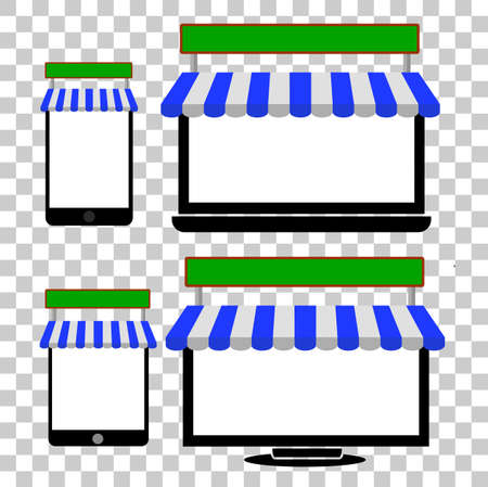 media gadget: Set of Illustration for On Line Shopping from gagdet