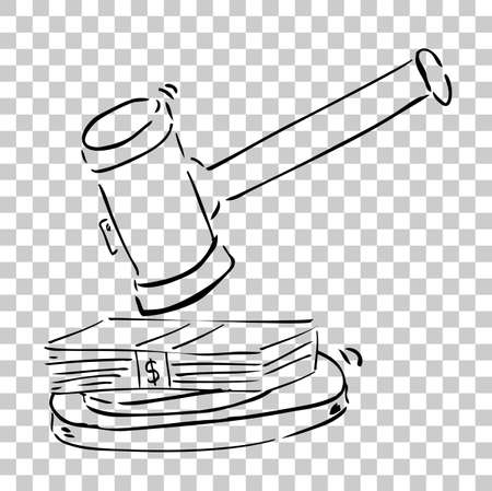 Illustration for Stop Corruption, Hammer of Judge with Dollar Money Stock Photo