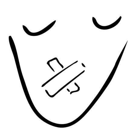 guardar silencio: Drenaje de la mano del bosquejo - guarda la muestra silenciosa y secreta, aislado en blanco