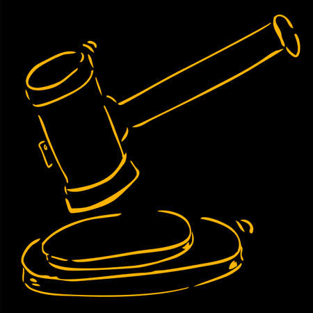 Hand Draw Sketch, Hammer of Judge at Black Background Stock Photo