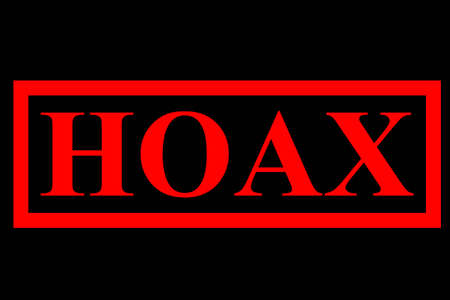 faked: Rubber Stamp - Hoax, Mark for Fake News, Red at Black Background