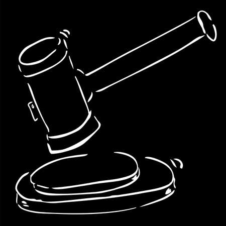 Hammer of Judge, white outline at Black Background