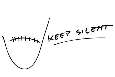silent: Hand Draw Sketch - Keep Silent and Secret Sign
