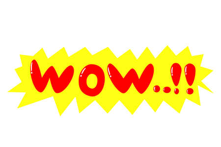 bewildering: shout out sign, wow, isolated on white Stock Photo