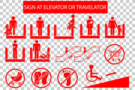 baby and mother: Set of Prohibited Sign at Escalator or Travelator