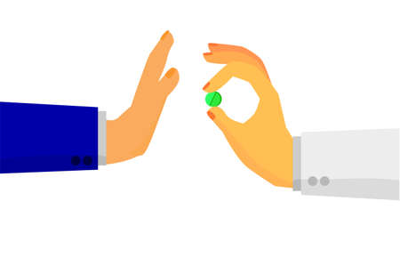 paracetamol: Hand Refuse One Pill From Other Stock Photo