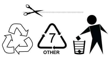 Sign : Recycle, Trash. Cut Here and Other